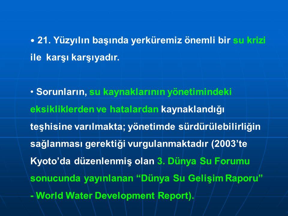 21. Yüzyılın başında yerküremiz önemli bir su krizi ile karşı karşıyadır.