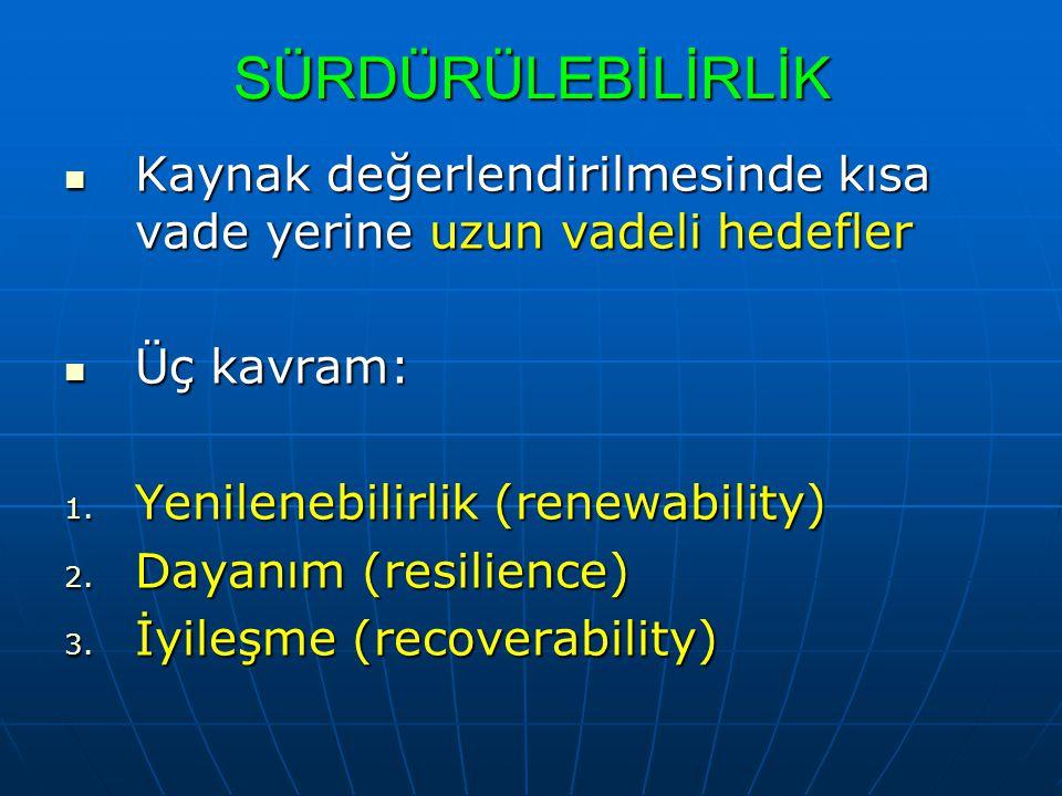 SÜRDÜRÜLEBİLİRLİK Kaynak değerlendirilmesinde kısa vade yerine uzun vadeli hedefler. Üç kavram: Yenilenebilirlik (renewability)