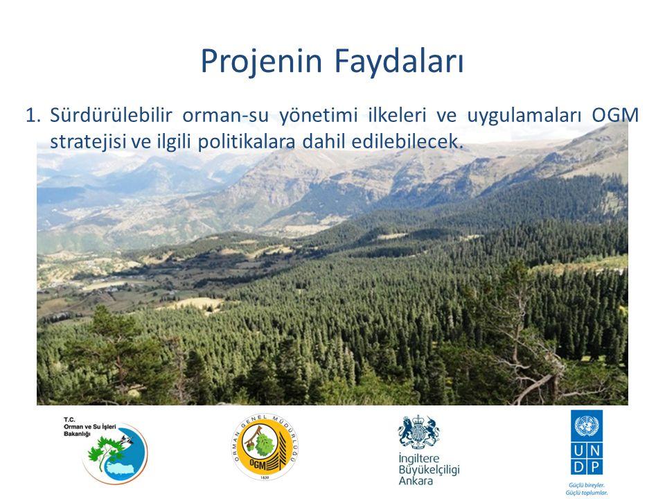 Projenin Faydaları 1. Sürdürülebilir orman-su yönetimi ilkeleri ve uygulamaları OGM stratejisi ve ilgili politikalara dahil edilebilecek.