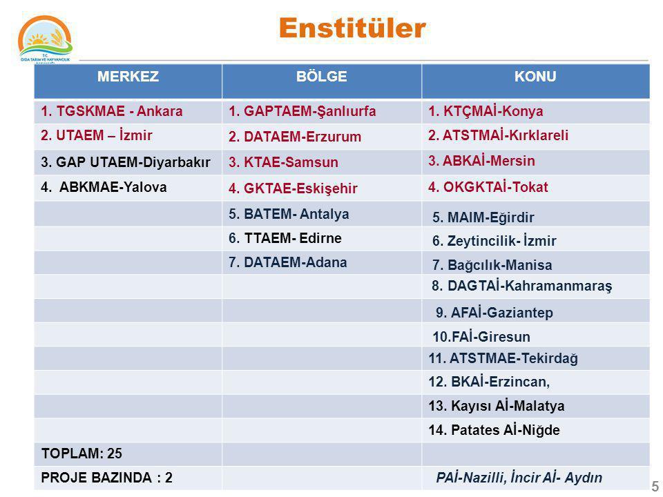 Enstitüler MERKEZ BÖLGE KONU 1. TGSKMAE - Ankara 1. GAPTAEM-Şanlıurfa