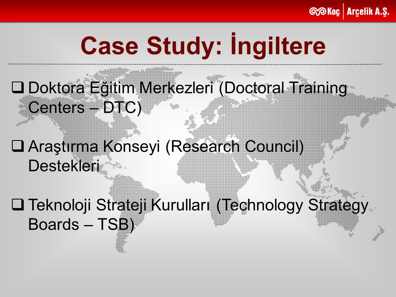 Case Study: İngiltere Doktora Eğitim Merkezleri (Doctoral Training Centers – DTC) Araştırma Konseyi (Research Council) Destekleri.