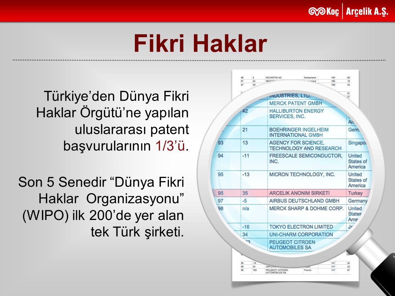 Fikri Haklar Türkiye'den Dünya Fikri Haklar Örgütü'ne yapılan uluslararası patent başvurularının 1/3'ü.