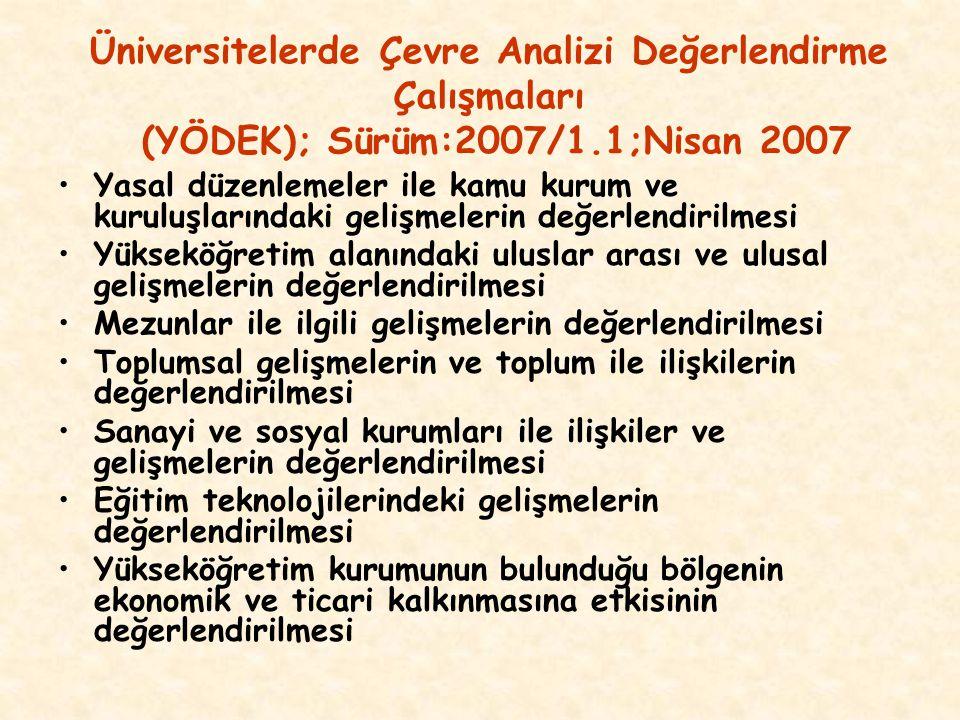 Üniversitelerde Çevre Analizi Değerlendirme Çalışmaları (YÖDEK); Sürüm:2007/1.1;Nisan 2007