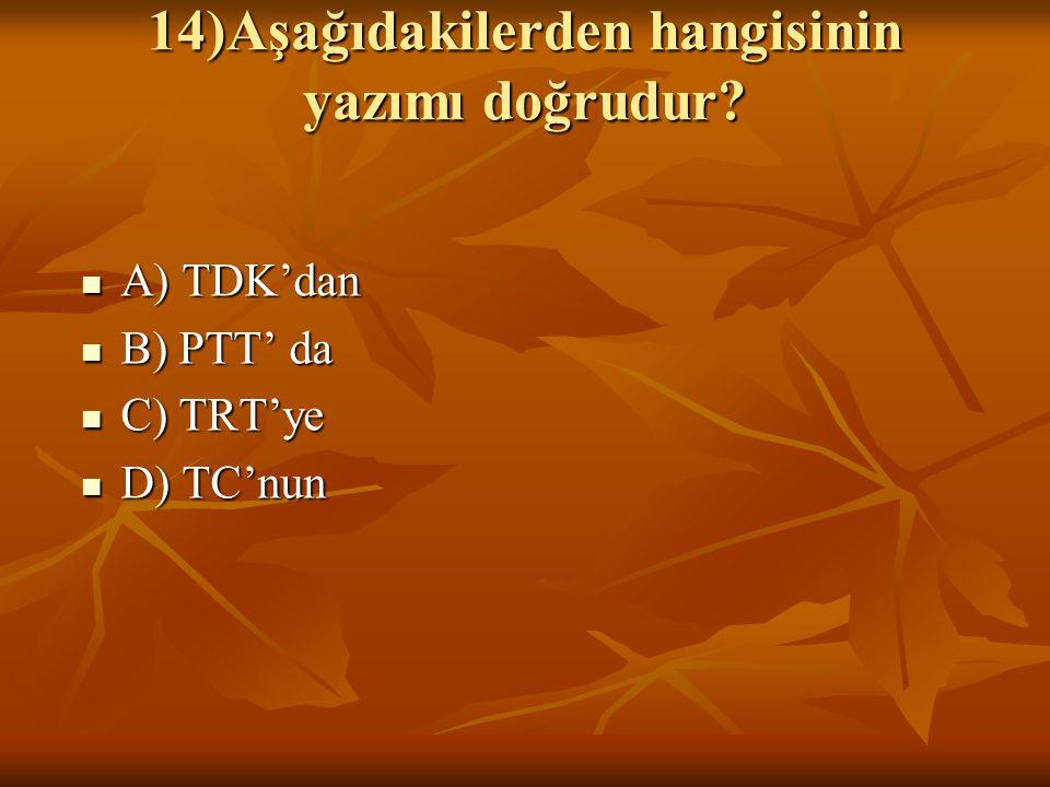 14)Aşağıdakilerden hangisinin yazımı doğrudur