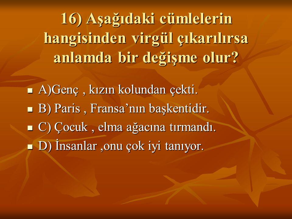 16) Aşağıdaki cümlelerin hangisinden virgül çıkarılırsa anlamda bir değişme olur