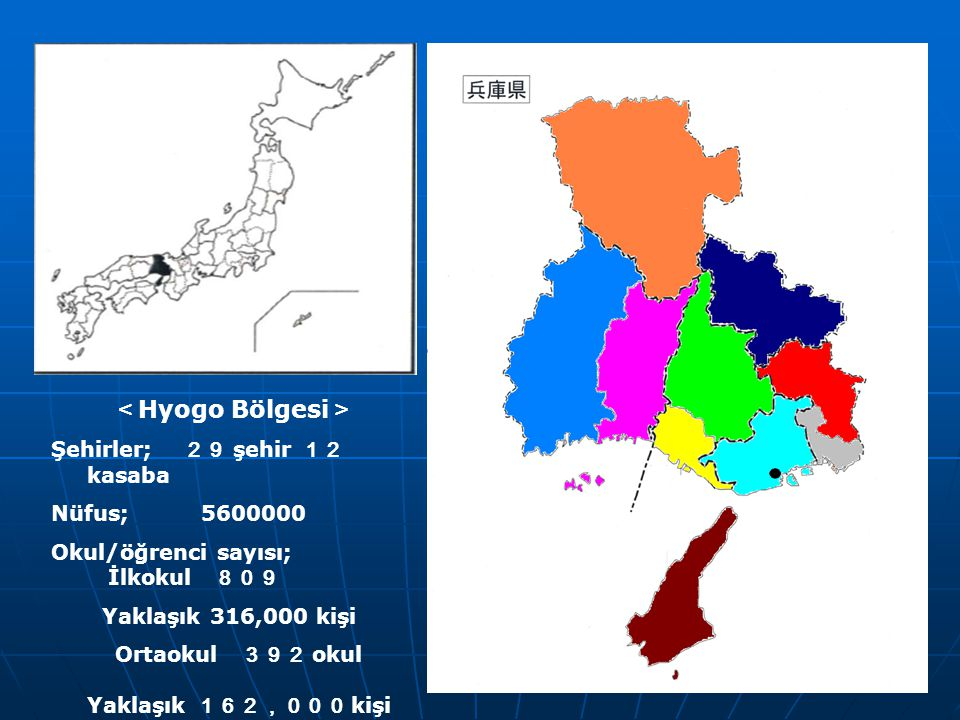 <Hyogo Bölgesi> Şehirler; 29 şehir 12 kasaba Nüfus; 5600000