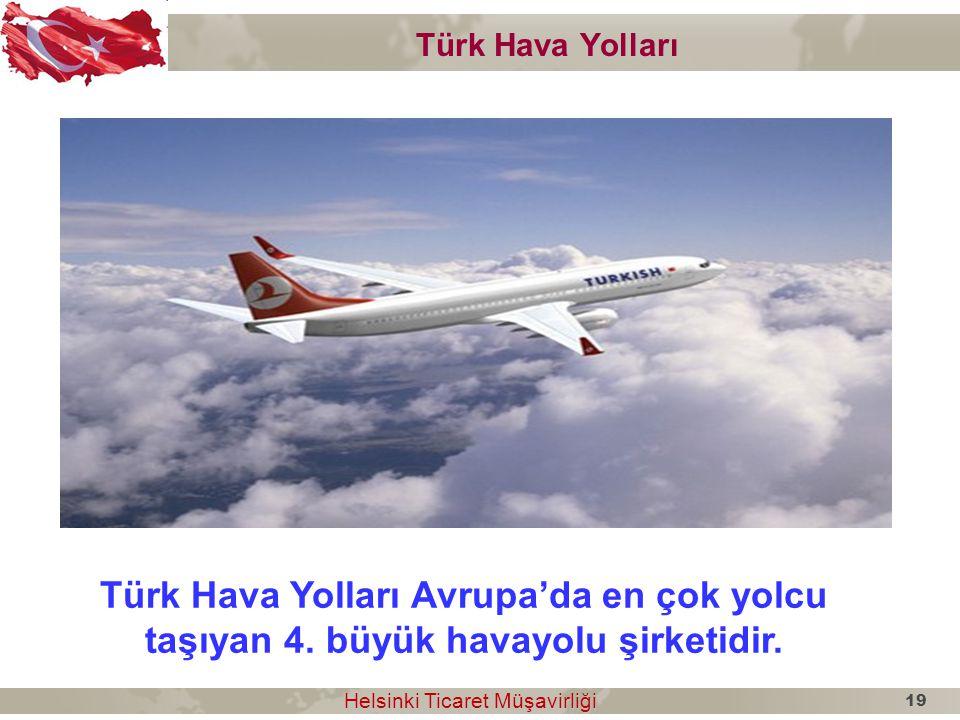 Türk Hava Yolları Türk Hava Yolları Avrupa'da en çok yolcu taşıyan 4. büyük havayolu şirketidir. 19.