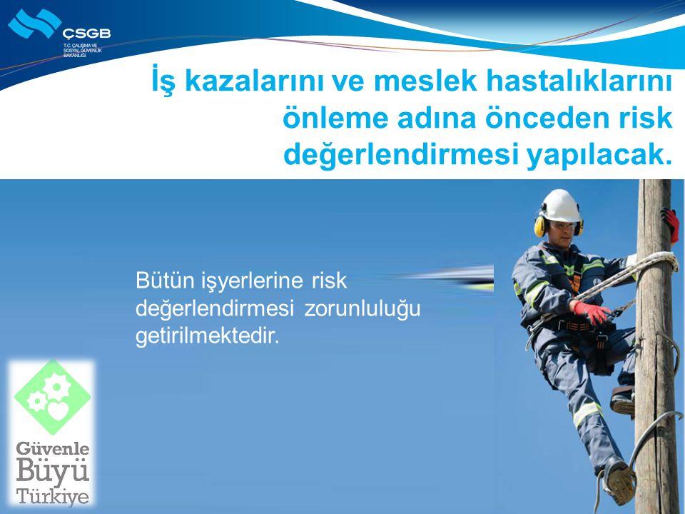 İş kazalarını ve meslek hastalıklarını önleme adına önceden risk değerlendirmesi yapılacak.