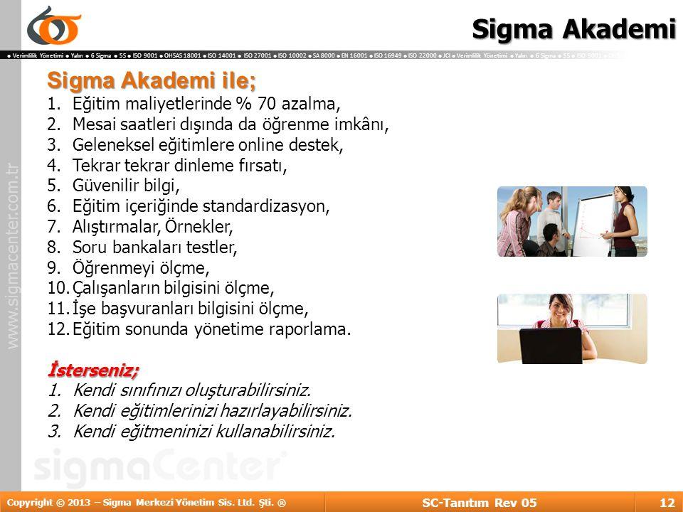 Sigma Akademi Sigma Akademi ile; Eğitim maliyetlerinde % 70 azalma,