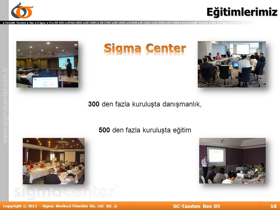 Eğitimlerimiz Sigma Center 300 den fazla kuruluşta danışmanlık,