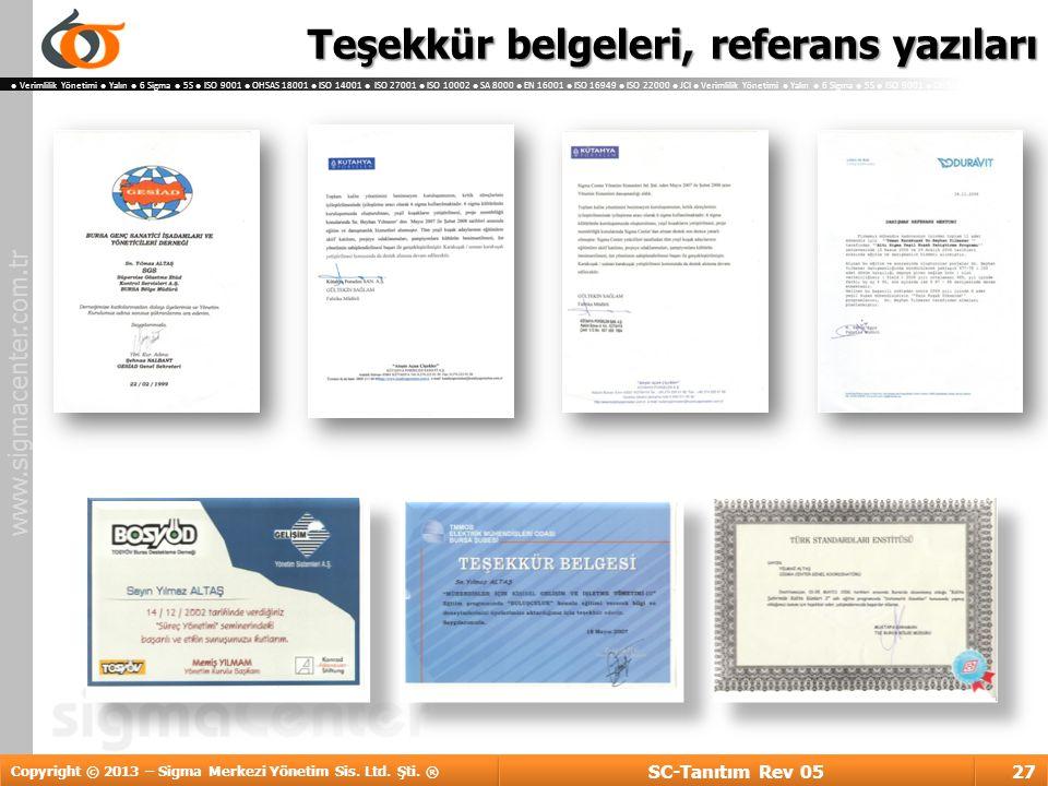 Teşekkür belgeleri, referans yazıları