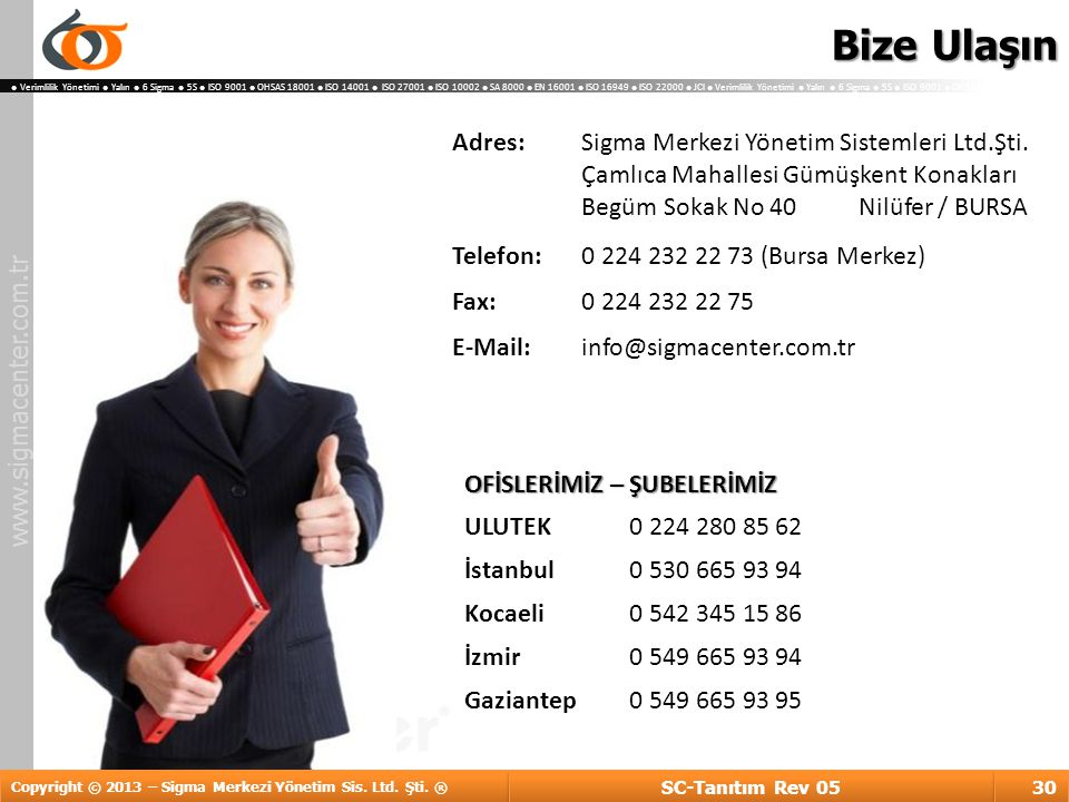 Bize Ulaşın Adres: Sigma Merkezi Yönetim Sistemleri Ltd.Şti.