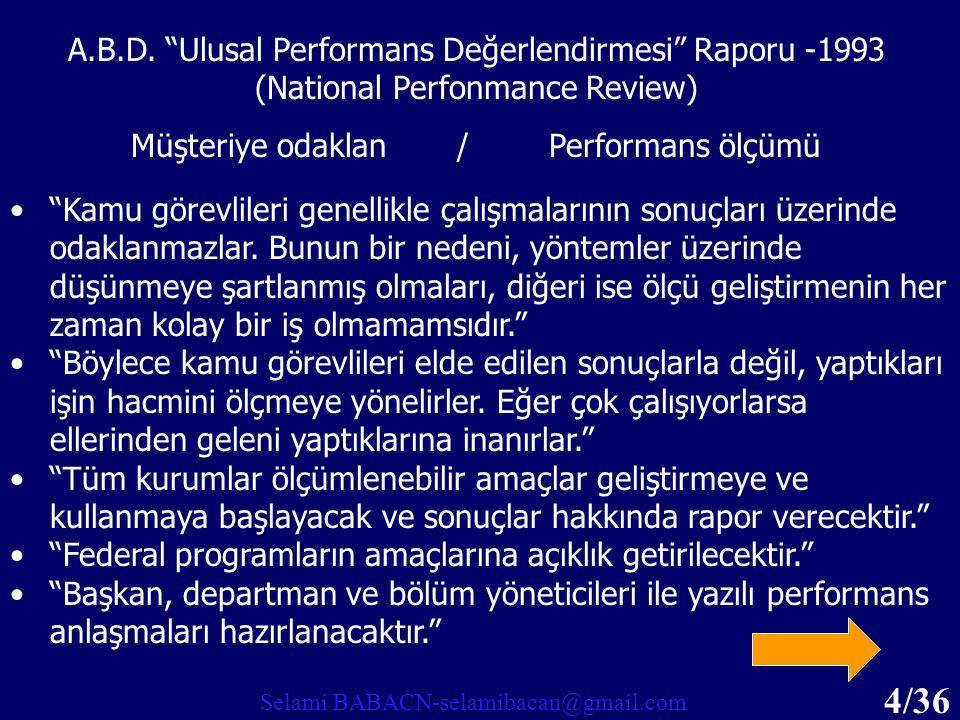 A.B.D. Ulusal Performans Değerlendirmesi Raporu -1993