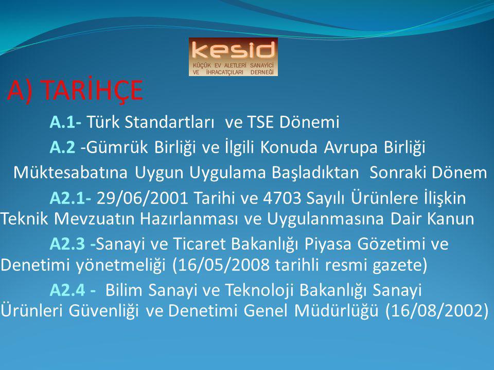 A) TARİHÇE A.1- Türk Standartları ve TSE Dönemi