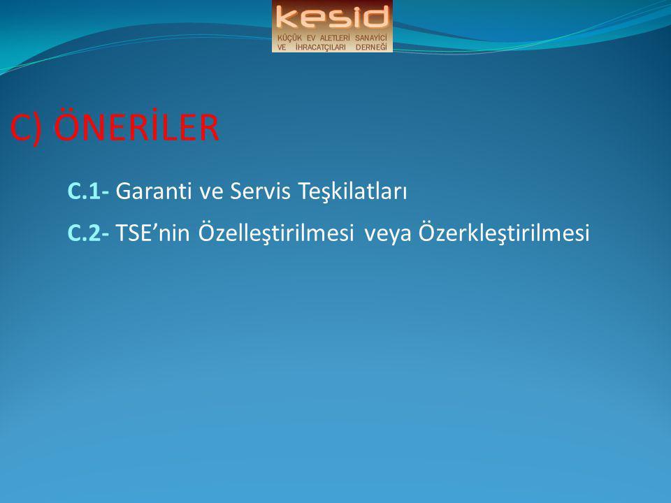 C.1- Garanti ve Servis Teşkilatları
