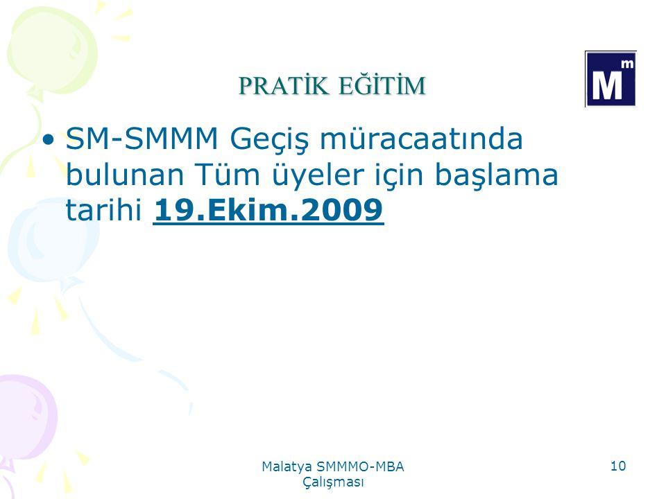 Malatya SMMMO-MBA Çalışması