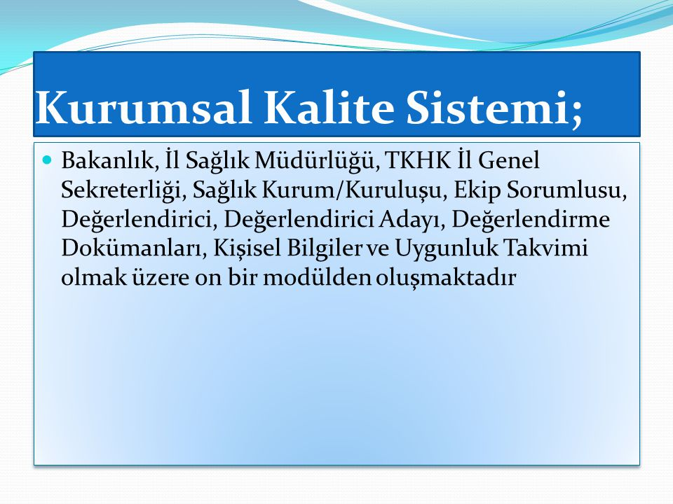 Kurumsal Kalite Sistemi;