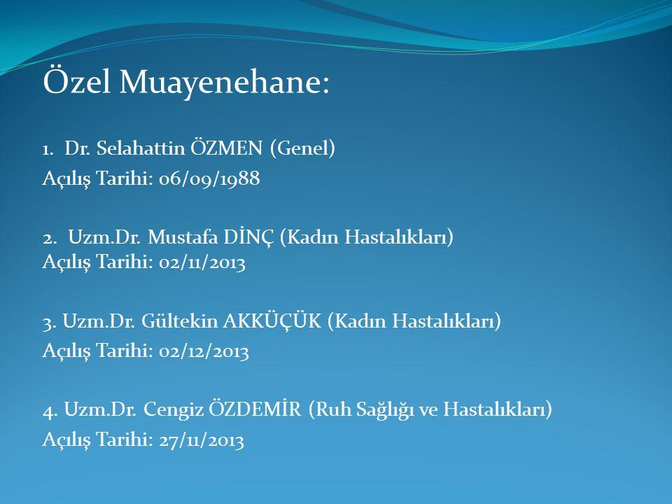 Özel Muayenehane: 1. Dr. Selahattin ÖZMEN (Genel)