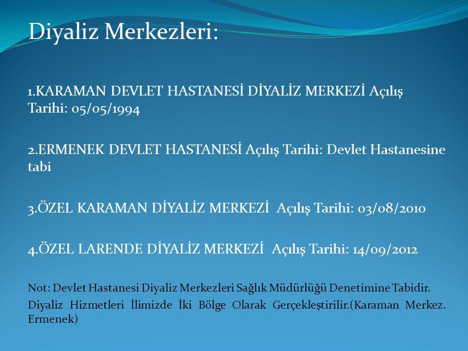 Diyaliz Merkezleri: 1.KARAMAN DEVLET HASTANESİ DİYALİZ MERKEZİ Açılış Tarihi: 05/05/1994.