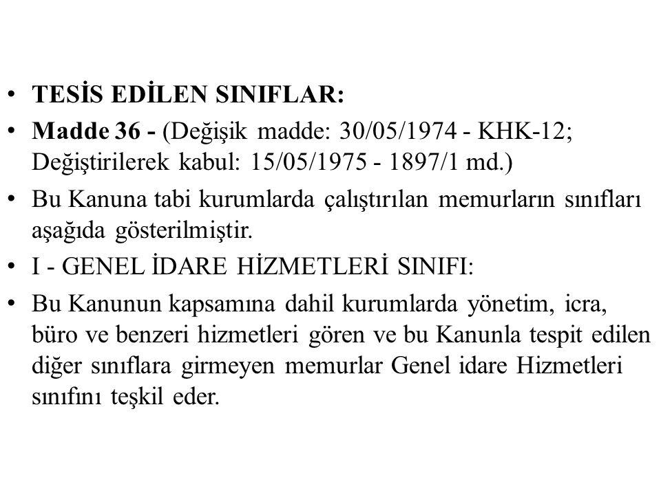 TESİS EDİLEN SINIFLAR:
