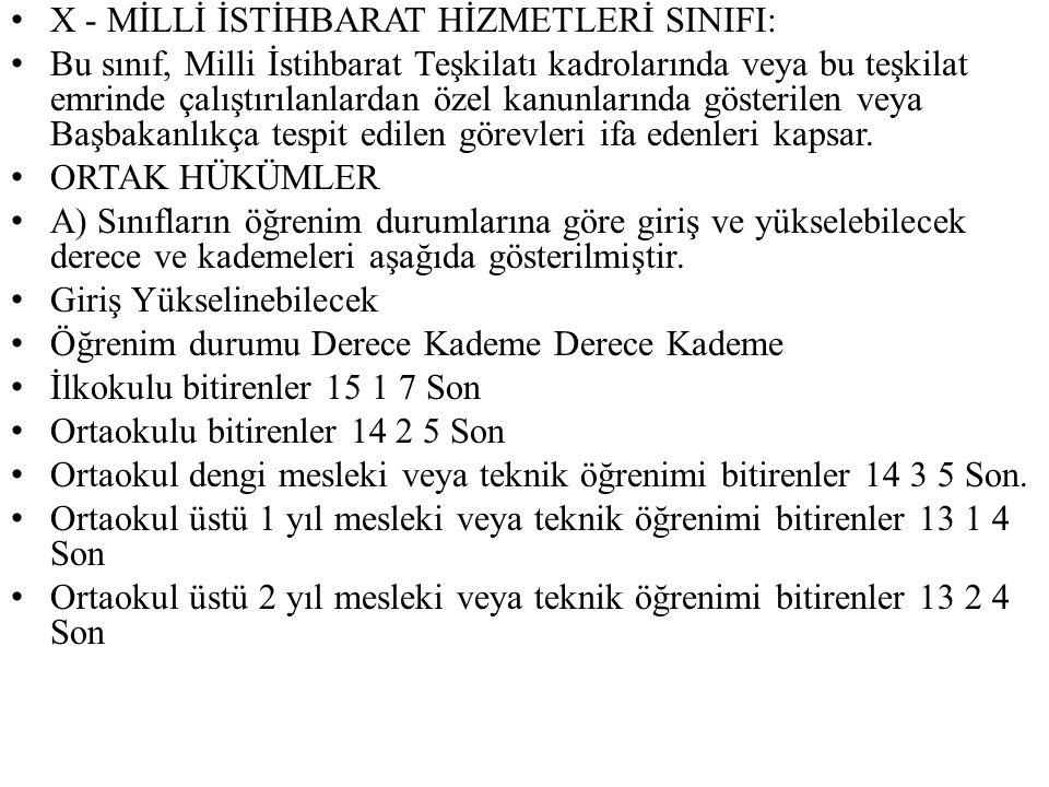 X - MİLLİ İSTİHBARAT HİZMETLERİ SINIFI:
