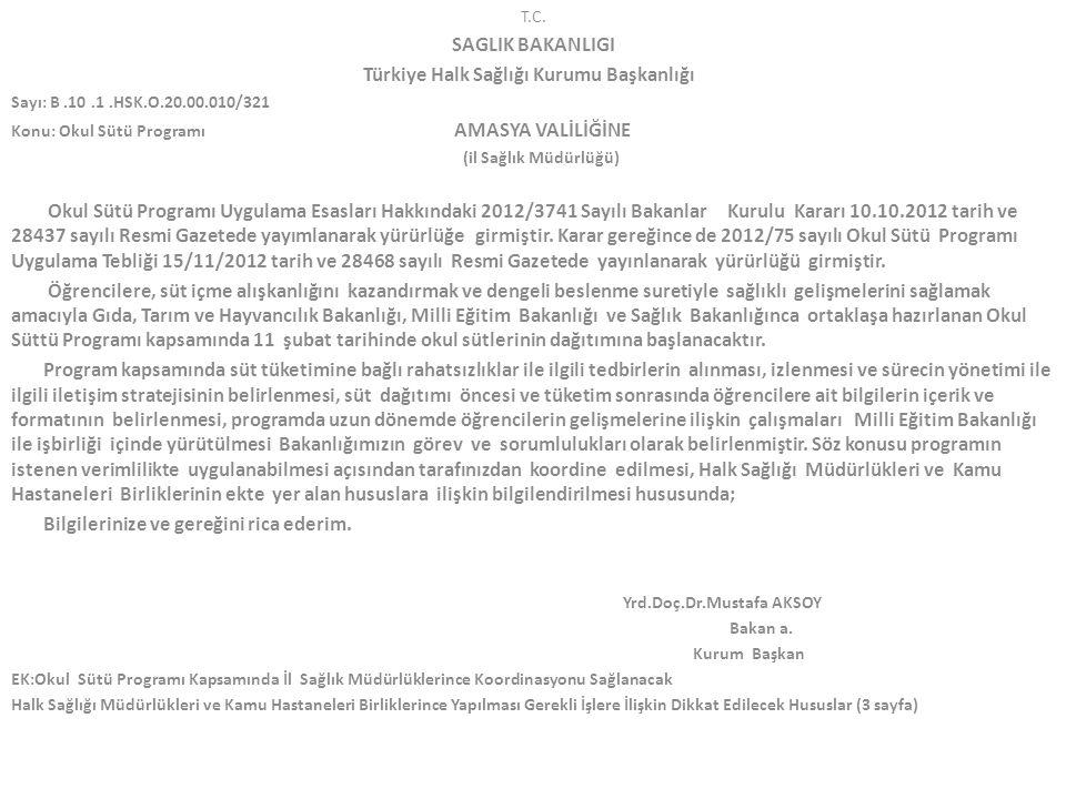 Türkiye Halk Sağlığı Kurumu Başkanlığı Yrd.Doç.Dr.Mustafa AKSOY
