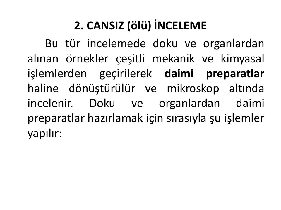 2. CANSIZ (ölü) İNCELEME