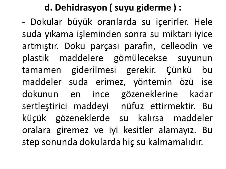 d. Dehidrasyon ( suyu giderme ) :