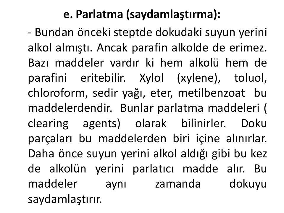 e. Parlatma (saydamlaştırma):