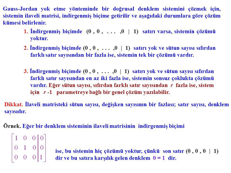 Gauss-Jordan yok etme yönteminde bir doğrusal denklem sistemini çözmek için, sistemin ilaveli matrisi, indirgenmiş biçime getirilir ve aşağıdaki durumlara göre çözüm kümesi belirlenir.