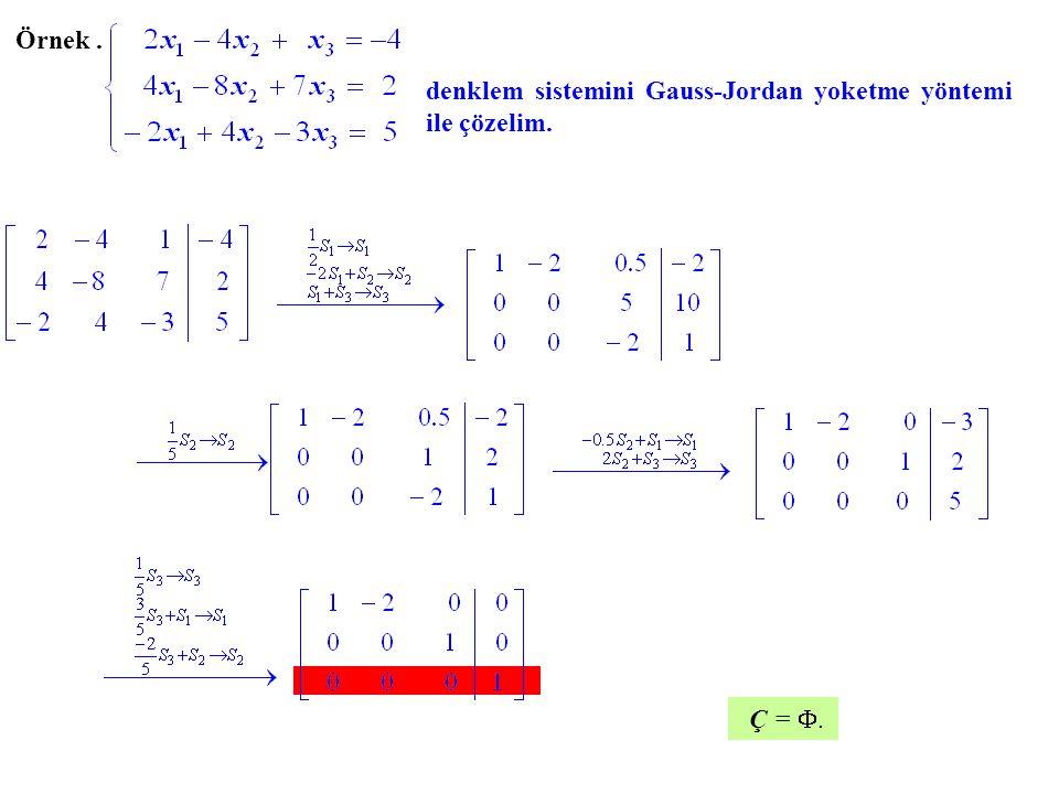 Örnek . denklem sistemini Gauss-Jordan yoketme yöntemi ile çözelim. Ç = .