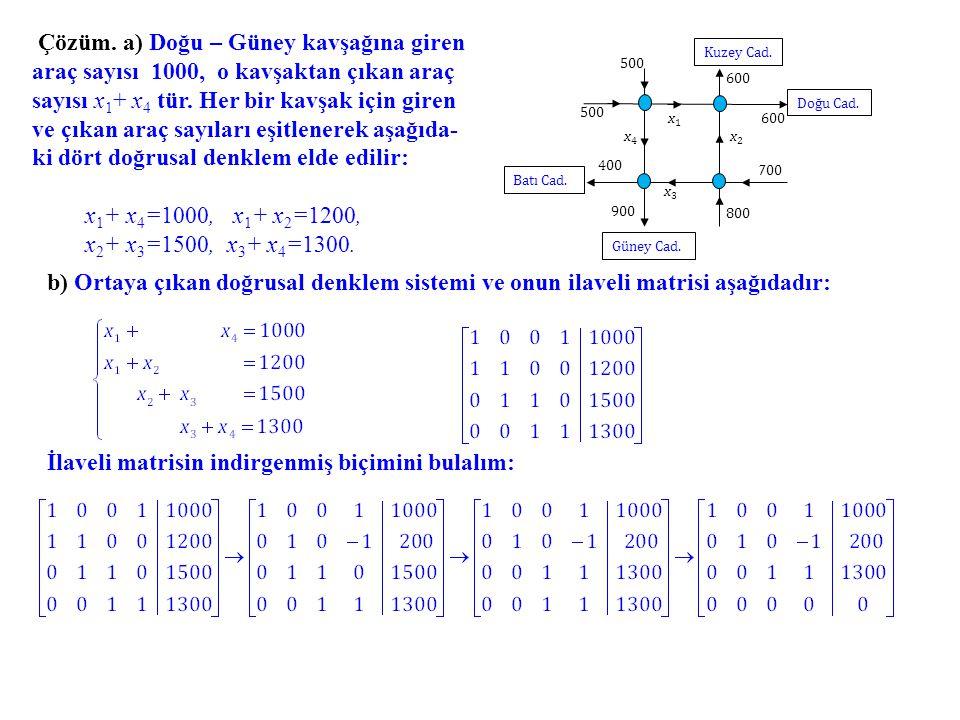 ki dört doğrusal denklem elde edilir: