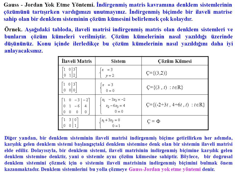 Gauss - Jordan Yok Etme Yöntemi