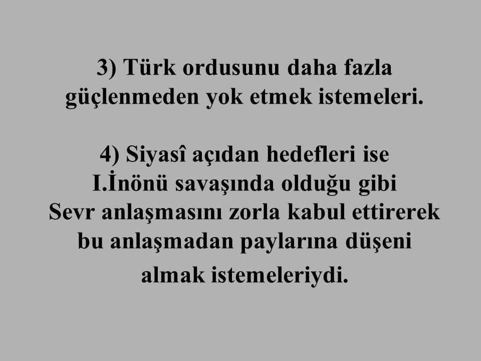 3) Türk ordusunu daha fazla güçlenmeden yok etmek istemeleri