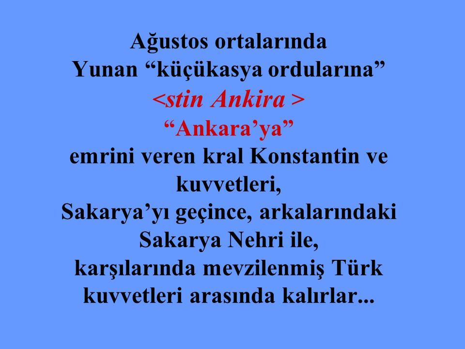 Ağustos ortalarında Yunan küçükasya ordularına <stin Ankira > Ankara'ya emrini veren kral Konstantin ve kuvvetleri, Sakarya'yı geçince, arkalarındaki Sakarya Nehri ile, karşılarında mevzilenmiş Türk kuvvetleri arasında kalırlar...