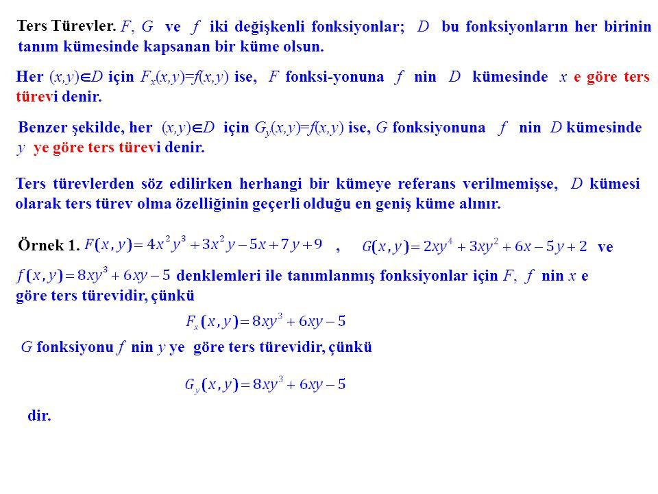 Ters Türevler. F, G ve f iki değişkenli fonksiyonlar; D bu fonksiyonların her birinin tanım kümesinde kapsanan bir küme olsun.