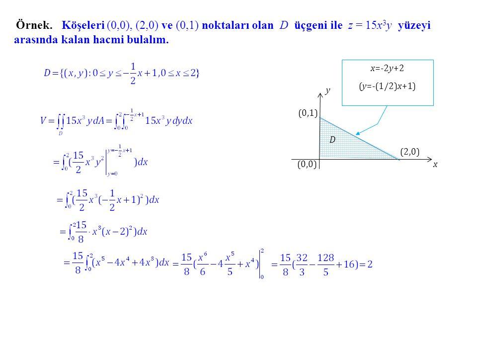 Köşeleri (0,0), (2,0) ve (0,1) noktaları olan D üçgeni ile z = 15x3y yüzeyi arasında kalan hacmi bulalım.