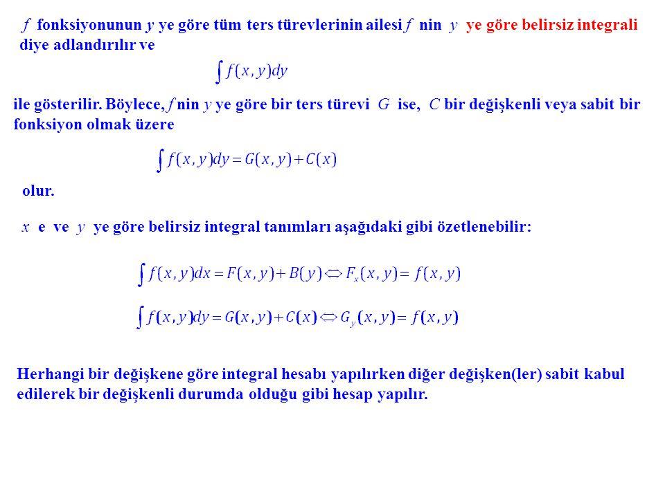 f fonksiyonunun y ye göre tüm ters türevlerinin ailesi f nin y ye göre belirsiz integrali diye adlandırılır ve