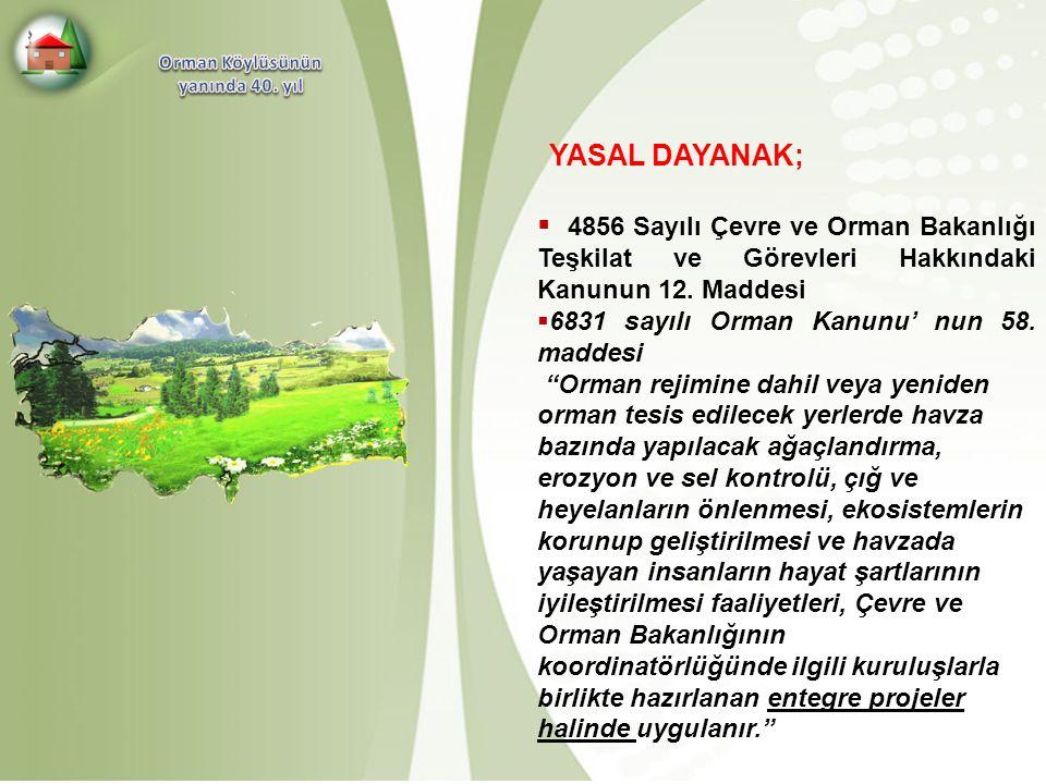 Orman Köylüsünün yanında 40. yıl. YASAL DAYANAK; 4856 Sayılı Çevre ve Orman Bakanlığı Teşkilat ve Görevleri Hakkındaki Kanunun 12. Maddesi.