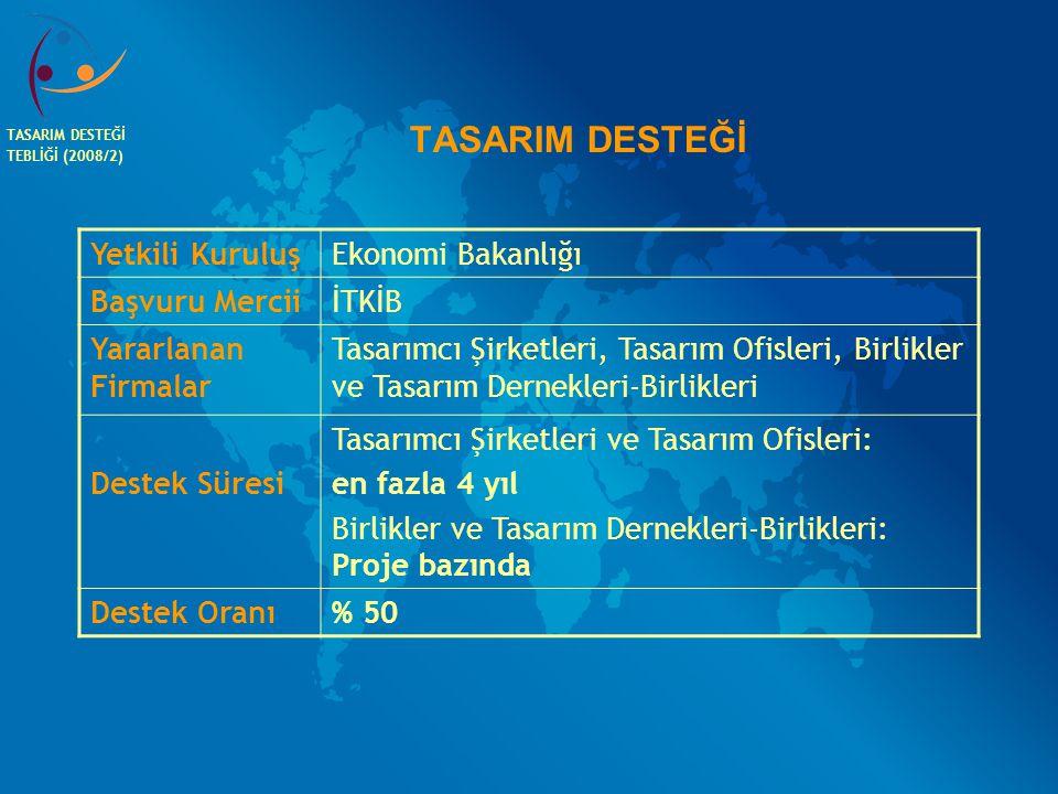 TASARIM DESTEĞİ Yetkili Kuruluş Ekonomi Bakanlığı Başvuru Mercii İTKİB