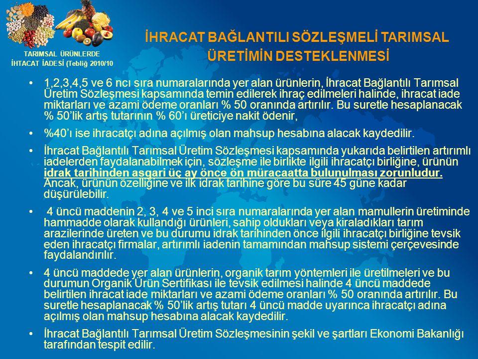 İHRACAT BAĞLANTILI SÖZLEŞMELİ TARIMSAL ÜRETİMİN DESTEKLENMESİ