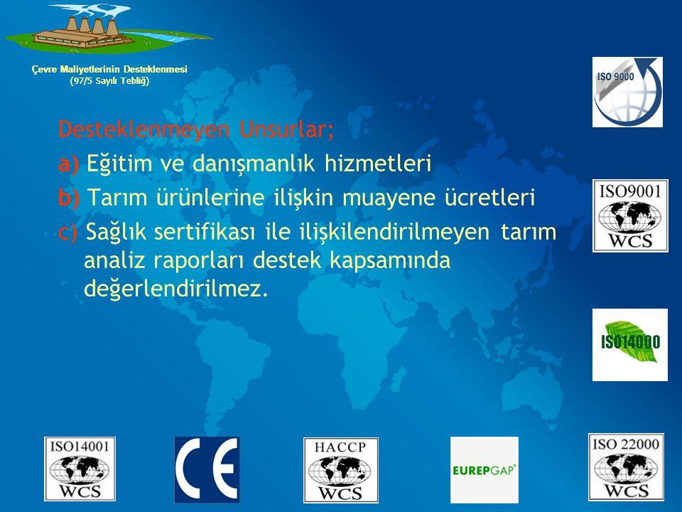 Çevre Maliyetlerinin Desteklenmesi Çevre Maliyetlerinin Desteklenmesi