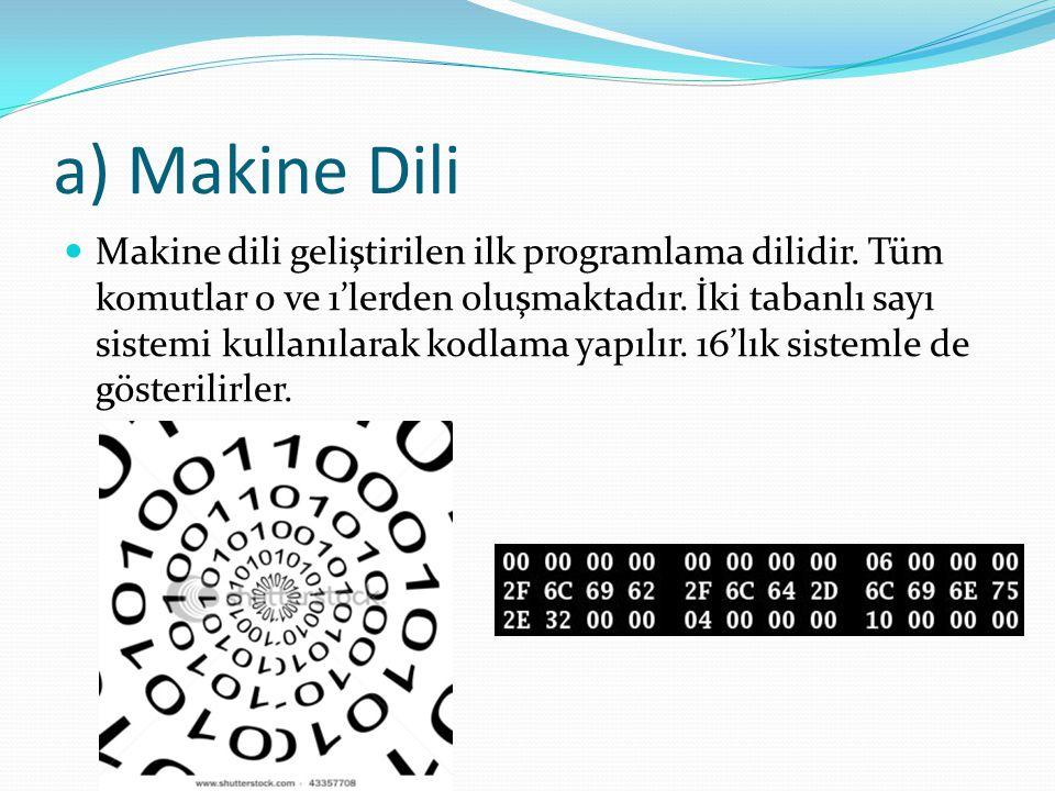 a) Makine Dili