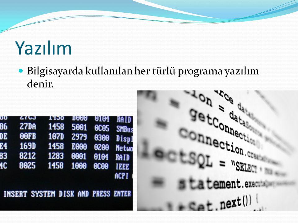 Yazılım Bilgisayarda kullanılan her türlü programa yazılım denir.