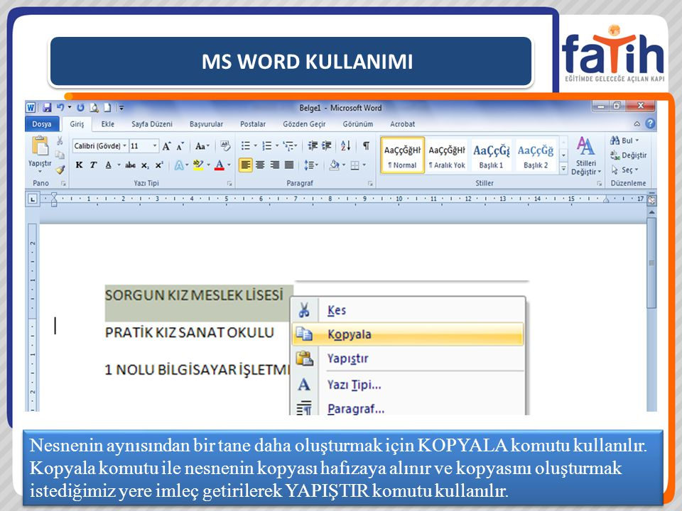 MS WORD KULLANIMI