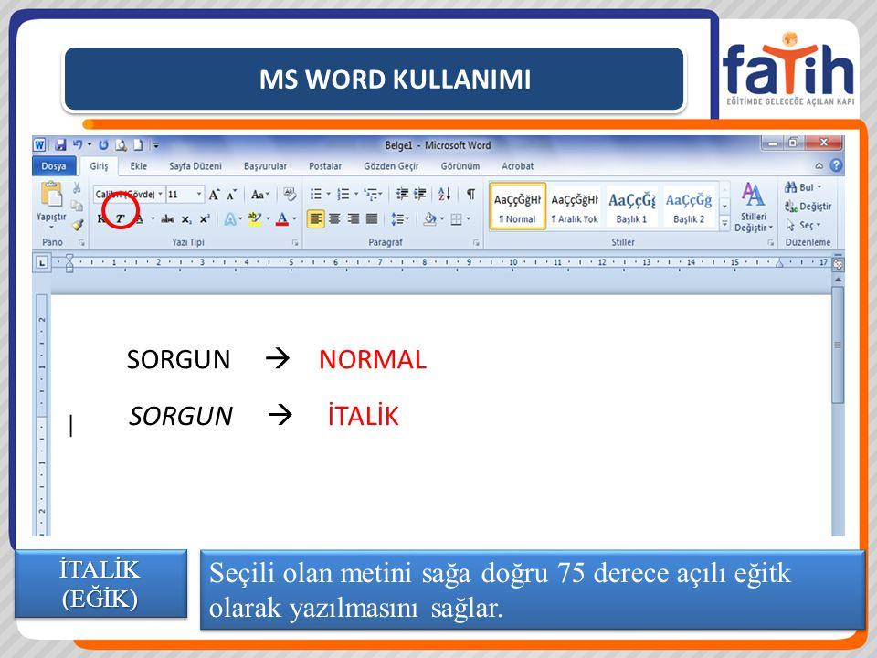 MS WORD KULLANIMI SORGUN  NORMAL SORGUN  İTALİK
