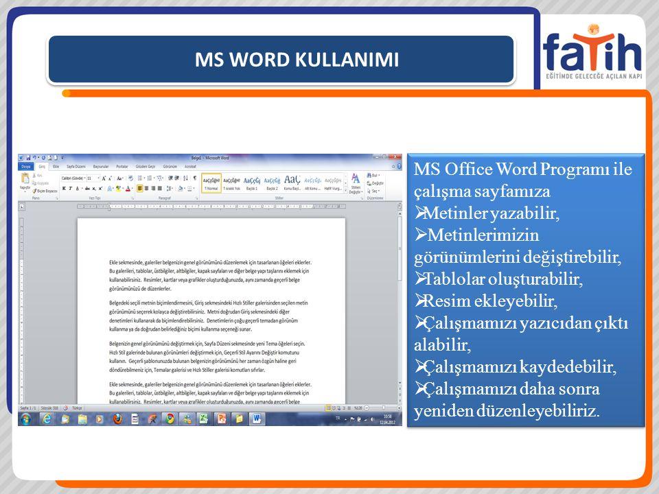 MS WORD KULLANIMI MS Office Word Programı ile çalışma sayfamıza