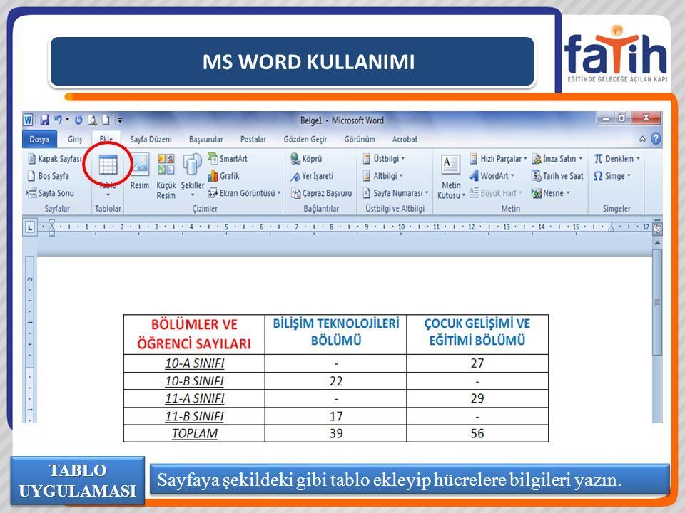 MS WORD KULLANIMI TABLO UYGULAMASI Sayfaya şekildeki gibi tablo ekleyip hücrelere bilgileri yazın.