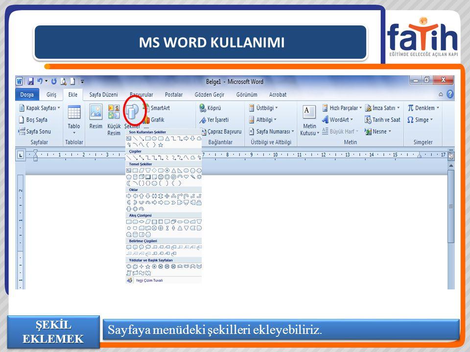 MS WORD KULLANIMI Sayfaya menüdeki şekilleri ekleyebiliriz.