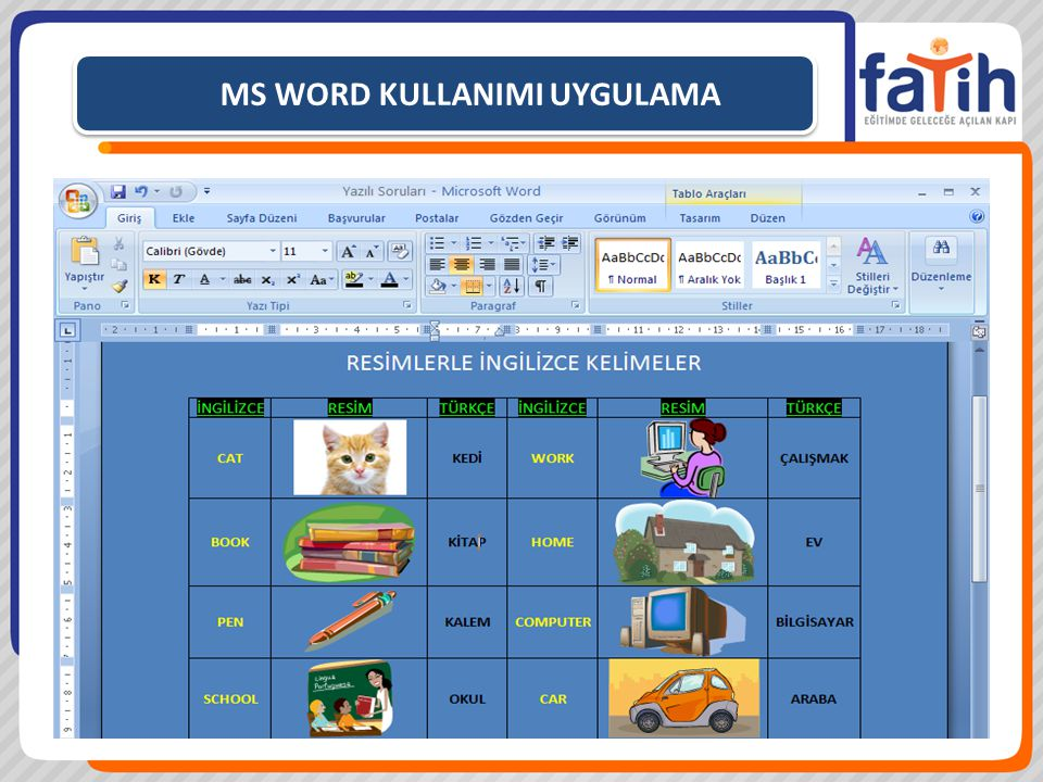 MS WORD KULLANIMI UYGULAMA